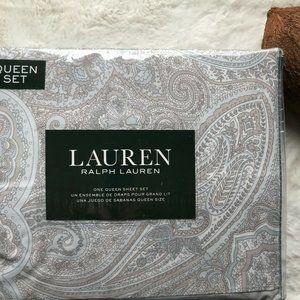 LRL Cotton Gray/Blue Paisley Print QUEEN Sheet Set